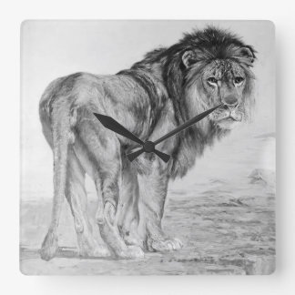 Vintage Majestic Lion Square Wall Clock