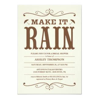 Vintage Make it Rain Bridal Shower Invitations