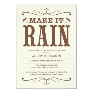 Vintage Make it Rain Wedding Shower Invitations