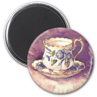 Vintage makeover - Cup & Saucer 2 Inch Round Magnet
