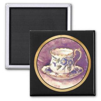 Vintage makeover - Cup & Saucer 2 Inch Square Magnet