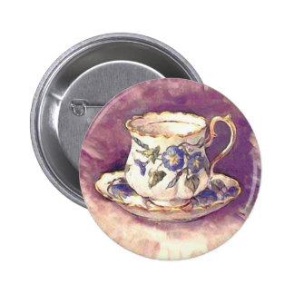 Vintage makeover - Cup & Saucer Pinback Button