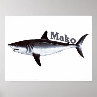 Vintage Mako Shark Poster