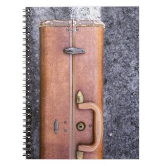 Vintage, maleta llevada en el borde de la libreta