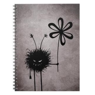 Vintage malvado del insecto de la flor libro de apuntes