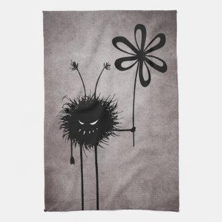 Vintage malvado del insecto de la flor gótico toalla de cocina