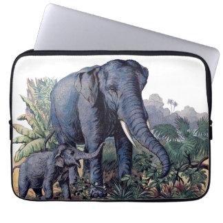 Vintage Mama & Baby Elephant Laptop Sleeves