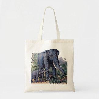 Vintage Mama & Baby Elephant Tote Bag
