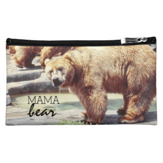 Vintage Mama Bear, Cute Fuzzy Mom Quote Makeup Bag