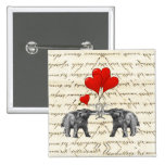 Vintage mammoths and hearts 2 inch square button