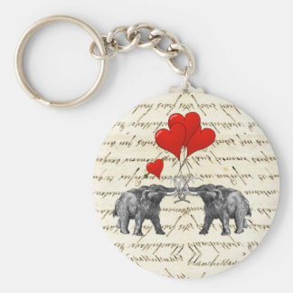 Vintage mammoths and hearts keychain