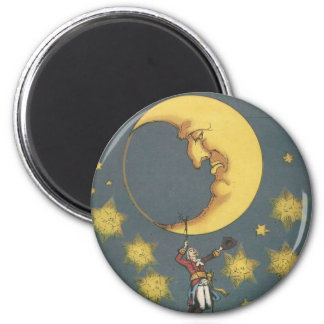 Vintage Man Hanging From the Moon 2 Inch Round Magnet
