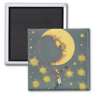 Vintage Man Hanging From the Moon 2 Inch Square Magnet