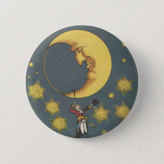 Vintage Man Hanging From the Moon Button