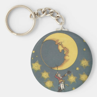 Vintage Man Hanging From the Moon Keychain