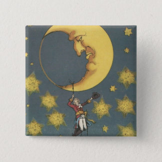 Vintage Man Hanging From the Moon Pinback Button