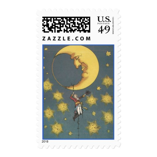 Vintage Man Hanging From the Moon Postage