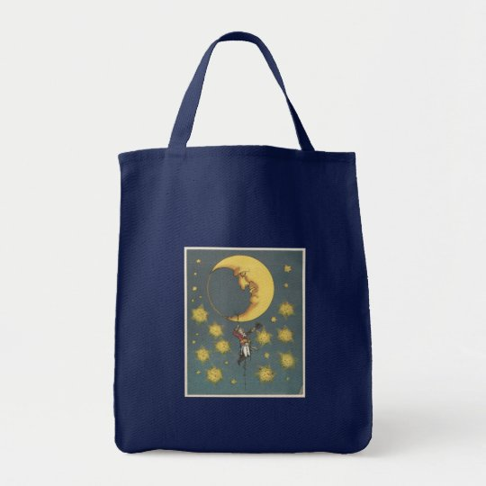 Vintage Man Hanging From the Moon Tote Bag