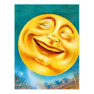 Vintage Man in the Moon Happy Moon Postcard