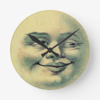Vintage Man in the Moon Round Clock