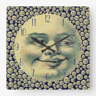 Vintage Man in the Moon Square Wall Clock