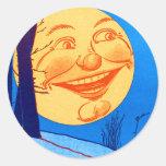 Vintage Man in the Moon W.W. Denslow Illustration Classic Round Sticker