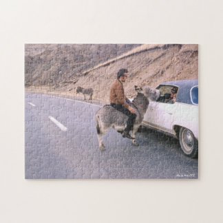 Vintage Man Riding a Mule, Humorous Retro 1971 Jigsaw Puzzle