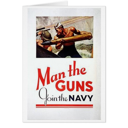 Vintage Man The Guns, Join the Navy Recruitment Po Card