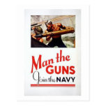 Vintage Man The Guns, Join the Navy Recruitment Po Postcard
