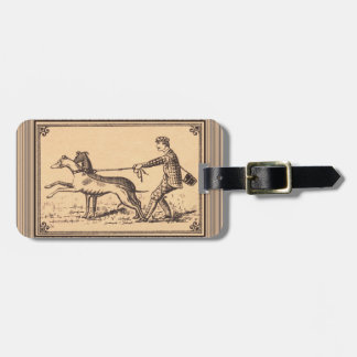 Vintage Man Walking Greyhounds Print Tags For Luggage