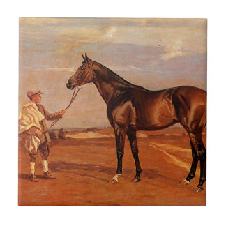 Vintage Man With Brown Race Horse Tile