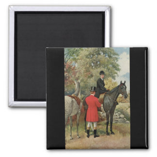 Vintage Man Woman Horses Equestrian 2 Inch Square Magnet