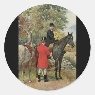 Vintage Man Woman Horses Equestrian Classic Round Sticker