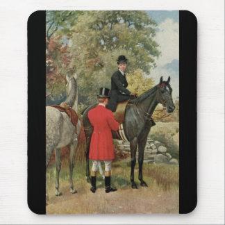 Vintage Man Woman Horses Equestrian Mouse Pad