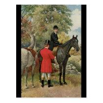 Vintage Man Woman Horses Equestrian Postcard