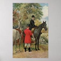 Vintage Man Woman Horses Equestrian Poster
