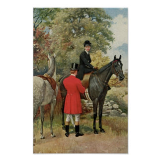 Vintage Man Woman Horses Equestrian Poster
