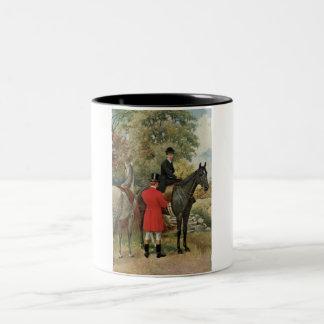 Vintage Man Woman Horses Equestrian Two-Tone Coffee Mug