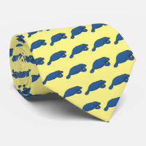 Vintage Manatee Drawing Blue Neck Tie