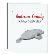 Vintage Manatee Drawing Christmas Xmas Card
