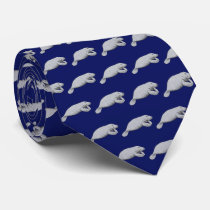 Vintage Manatee Drawing Neck Tie