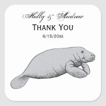 Vintage Manatee Drawing Square Sticker