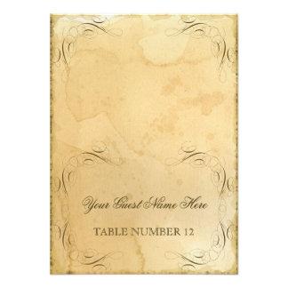 Vintage manchado té que casa 1 - nombres del númer invitaciones personalizada