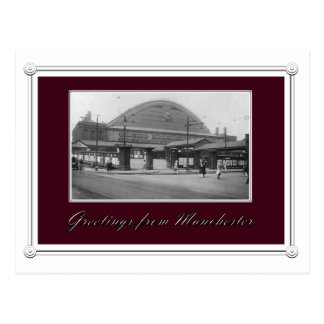Vintage Manchester Train Station Postcard