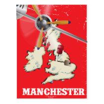 Vintage Manchester Travel Poster Postcard