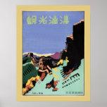 Vintage Manchuria y el anuncio del viaje de la Gra Poster