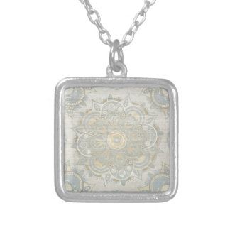 Vintage mandala silver plated necklace