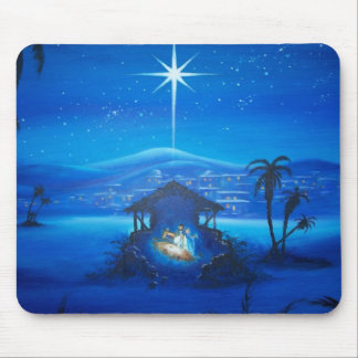 Vintage Manger Night Scene Mouse Pad
