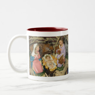 Vintage Manger Scene Nativity Photo of Creche Two-Tone Coffee Mug