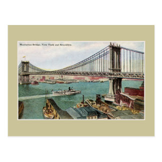 Vintage Manhattan Bridge, Hudson, Brooklyn NYC Postcard